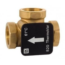 3-way thermic loading valve DN25, 61°C, kvs 9, brass, LK 820 ThermoVar