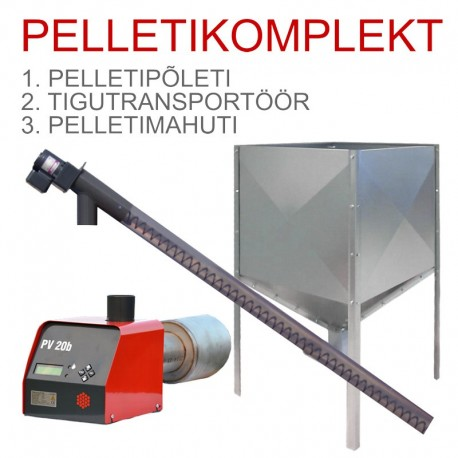 Pellet heating set: pelletburner, conveyor, hopper
