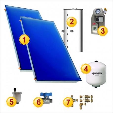 Solar heating set: 2 collectors