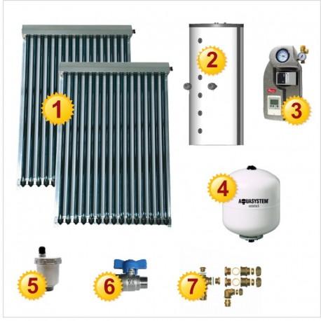 Solar heating set: 2 evacuated tube solar collectors