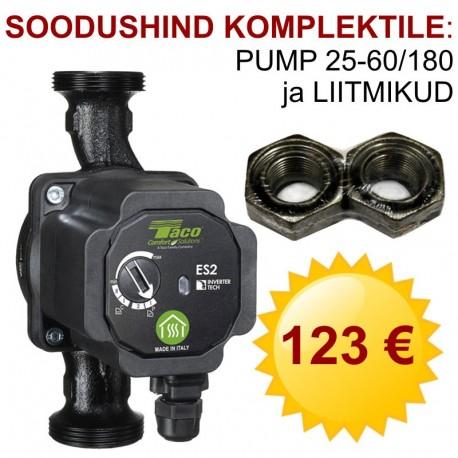 """Kiertovesipumppu ES2 25-60/180 Taco, 180 mm, 1½"""" + liittimet 1""""x1½"""""""