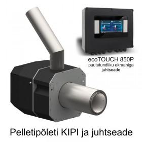 Pelletipõleti KIPI 6-26 kW ja puutetundliku ekraaniga juhtseade ecoTOUCH 850P