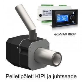 Pellettipoltin KIPI 6-26 kW ja ohjausyksikkö ecoMAX 860P