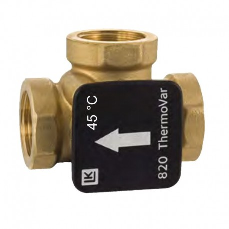 3-way thermic loading valve DN15, 45 °C, kvs 4, brass, LK 820 ThermoVar