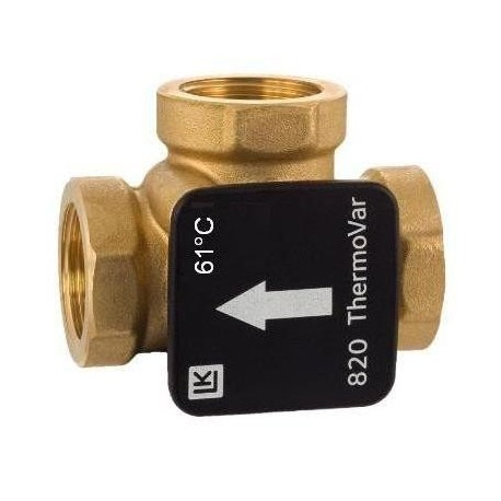 3-way thermic loading valve DN32, 61°C, Kvs 12, brass, LK 820 ThermoVar