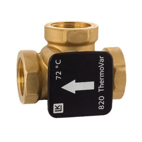 3-way thermic loading valve DN25, 72°C, Kvs 9, brass, LK 820 ThermoVar