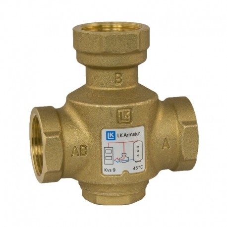 3-way thermic loading valve DN25, 45 °C, kvs 9, LK 823 ThermoVar
