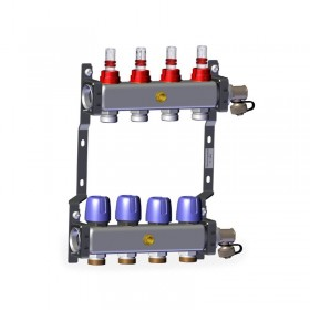 "Põrandakütte kollektor 4x1"" x 3/4"" rotameetritega komplekt LK 430"
