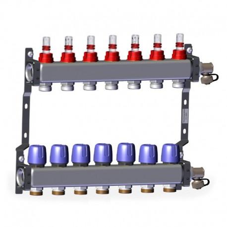"Põrandakütte kollektor 7x1"" x 3/4"" rotameetritega komplekt LK 430"