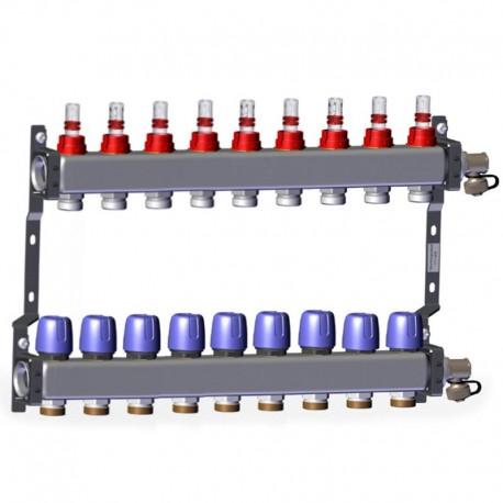 "Põrandakütte kollektor 9x1"" x 3/4"" rotameetritega komplekt LK 430"