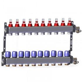 "Põrandakütte kollektor 10x1"" x 3/4"" rotameetritega komplekt LK 430"