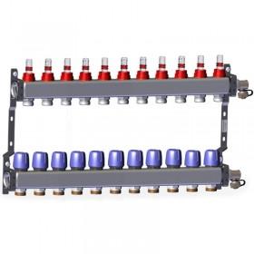 "Põrandakütte kollektor 11x1"" x 3/4"" rotameetritega komplekt LK 430"