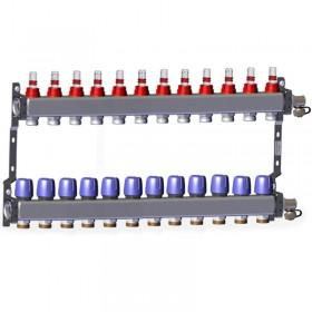 "Põrandakütte kollektor 12x1"" x 3/4"" rotameetritega komplekt LK 430"