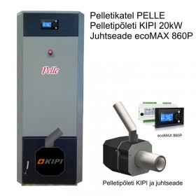 Pellet boiler PELLE, burner KIPI 20 kW, controller ecoMAX 860P