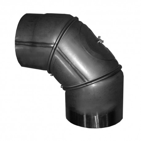 Elbow 0-90° with cleaning loop, 150 mm