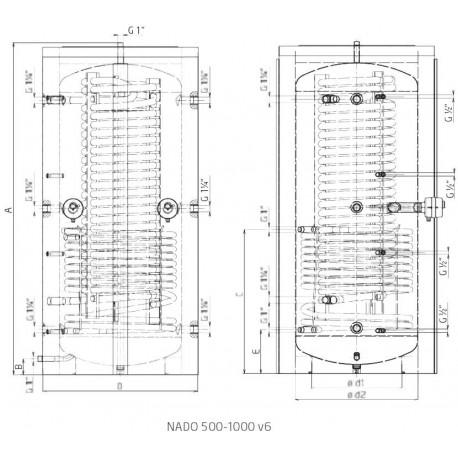 Akumulatsioonipaak 1000 l, Dražice NADO 1000/45 v6