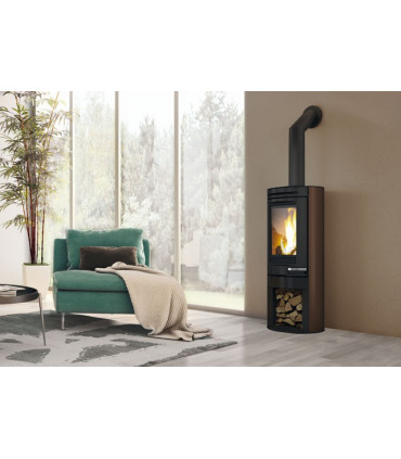 Wood air-heating stoves