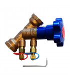 Double regulating and commissioning valves